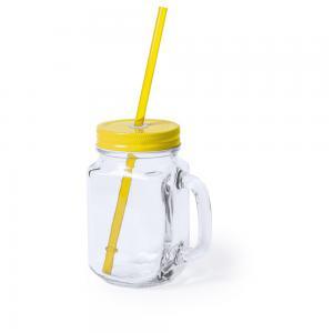 Słoik do picia, butelka 500 ml, słomka żółty