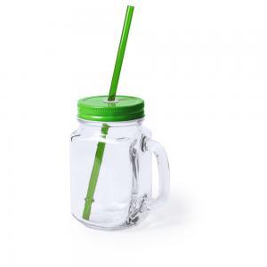 Słoik do picia, butelka 500 ml, słomka zielony