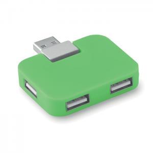 Hub USB 4 porty limonka
