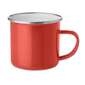 Emaliowany metalowy kubek czerwony