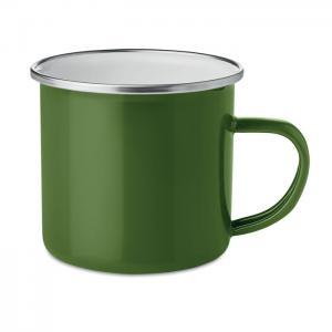 Emaliowany metalowy kubek zielony