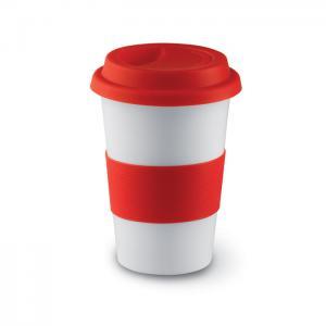 Ceramiczny kubek z przykrywką czerwony
