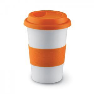 Ceramiczny kubek z przykrywką pomarańczowy
