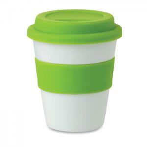 Kubek PP, silikonowe wieczko zielony
