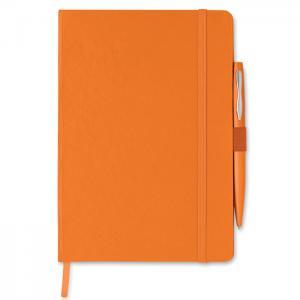 Notes A5 z długopisem pomarańczowy
