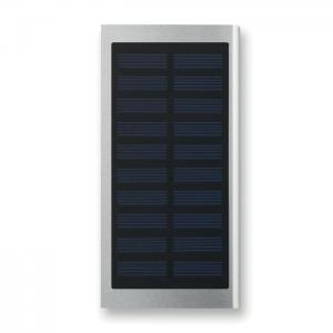 Solarny power bank 8000 mAh srebrny mat