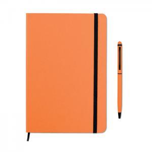 Zestaw notes z długopisem pomarańczowy