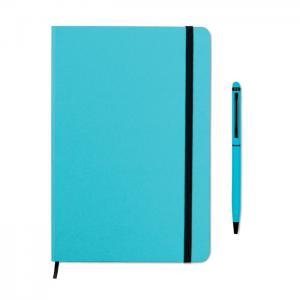 Zestaw notes z długopisem turkusowy
