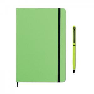 Zestaw notes z długopisem limonka
