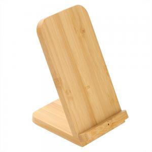 Bambusowa ładowarka bezprzewodowa 10W B'RIGHT, stojak na telefon