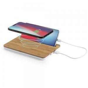 Bambusowa ładowarka bezprzewodowa 5W, organizer na biurko