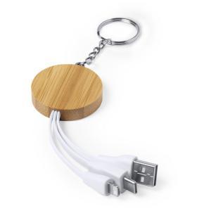 Bambusowy brelok do kluczy, kabel do ładowania