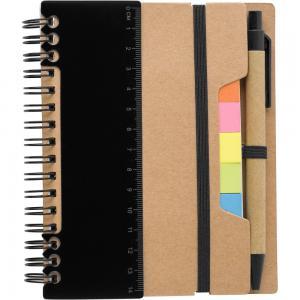 Zestaw do notatek, notatnik, długopis, linijka, karteczki samoprzylepne