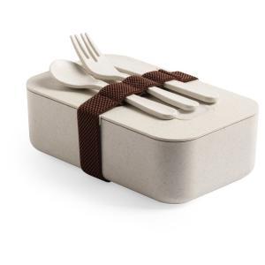 Bambusowe pudełko śniadaniowe 1 L, sztućce