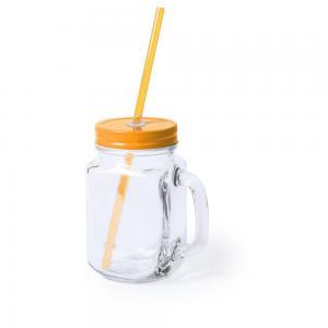 Słoik do picia, butelka 500 ml, słomka pomarańczowy