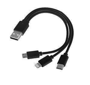 Kabel USB 3w1 micro USB + USB typ C + Lightning czarny
