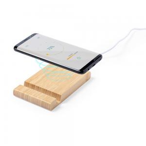 Bambusowa ładowarka bezprzewodowa 5W, stojak na telefon, stojak na tablet