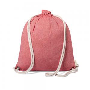 Worek ze sznurkiem i torba na zakupy z bawełny z recyklingu, 2 w 1 czerwony