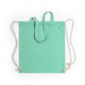 Worek ze sznurkiem i torba na zakupy z bawełny z recyklingu, 2 w 1 zielony