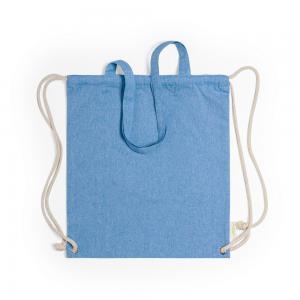 Worek ze sznurkiem i torba na zakupy z bawełny z recyklingu, 2 w 1 niebieski
