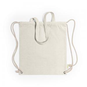 Worek ze sznurkiem i torba na zakupy z bawełny z recyklingu, 2 w 1 beżowy